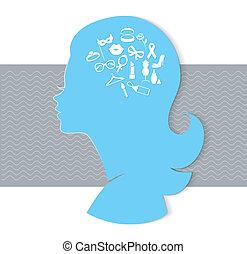 tête, femme, icônes