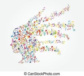tête, femme, musique