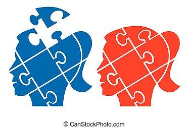 tête, femme, puzzle
