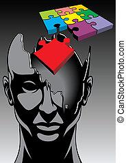 tête, femme, puzzle, hommes, idée, ou, résumé