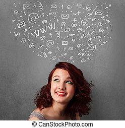 tête, femme, réseau, elle, icônes, pensée, jeune, au-dessus, social