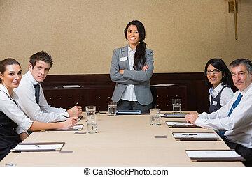 tête, femme, réunion, sourire, business