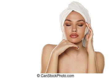 tête, femme, serviette, elle