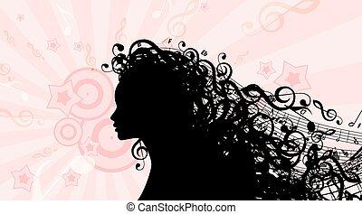 tête, femme, silhouette, illustration, vecteur, musique, hair., stockage
