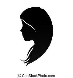 tête, femme, silhouette, profil