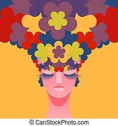 tête, femme, vecteur, hair., instead, fleurs