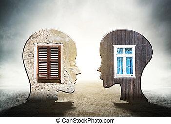 tête, fenetres, intérieur, deux, silhouettes, humain