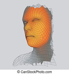 tête, figure, personne, grid., scanning., 3d