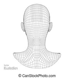 tête, fil, polygone, grid., couverture, 3d, figure,...