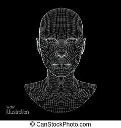 tête, fil, polygone, grid., couverture, 3d, figure, ...