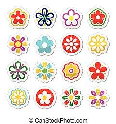 tête fleur, vecteur, icônes, ensemble
