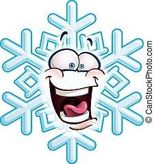 tête, -, flocon de neige, lol