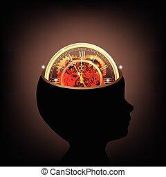 tête, fonctionnement, dents, idée, ensemble, vecteur, engrenages, humain, temps