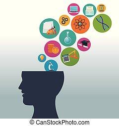 tête, fond, icônes, couleur, humain, bulles, connaissance