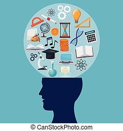 tête, fond, icônes, couleur, humain, circulaire, bulle, connaissance