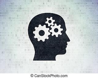 tête, fond, papier, engrenages, apprentissage, numérique, données, concept: