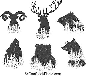 tête, forêt, animaux, ensemble, résumé