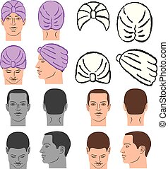 tête, gabarit, casquette, douche, turban, ou, homme