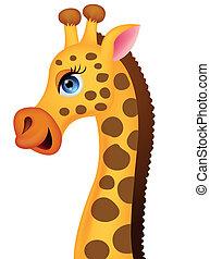 tête, girafe, dessin animé