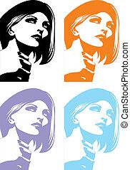 tête, girl, dans, différent, couleurs