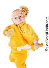 tête, girl, fond, portrait, elle, blanc, bébé, fleur jaune