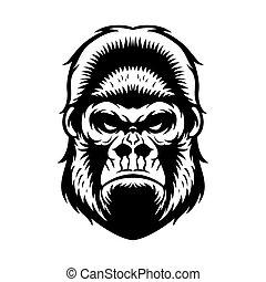 tête gorille, bw