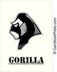 tête, gorille, noir, white., vue côté