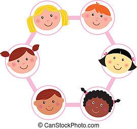 tête, gosses, multiculturel, cercle