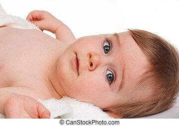 tête, grand, -, jeune enfant, bébé, portrait, yeux