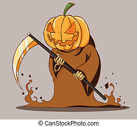 tête, halloween, citrouille