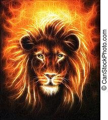 tête, haut, portrait, fin, doré, crinière, lion, beau