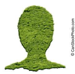tête, herbe, humain, formé