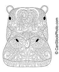 tête, hippopotame, coloration, vecteur, pour, adultes