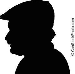tête, homme, noir, silhouette