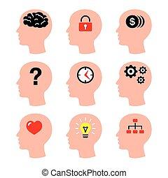 tête, homme, pensées, cerveau, icônes