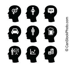 tête, homme, pensées, vecteur, icônes, ensemble