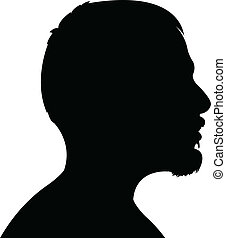 tête, homme, silhouette