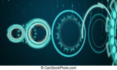 tête, hud, fond, binaire, exposer, sombre, technologie, cyber, goutte, 4k, en mouvement, aléatoire, futuriste, haut, concept