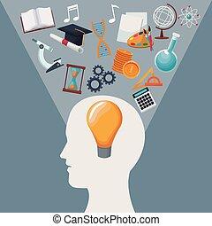 tête, humain, icônes, couleur, lumière, intérieur, solution, idée, fond, halo, connaissance