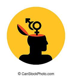 tête humaine, à, symboles genre