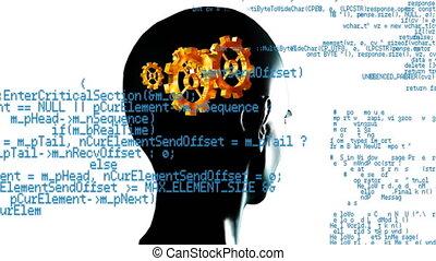 tête humaine, engrenages, cerveau