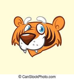 tête, icône, dessin animé, tigre, mignon