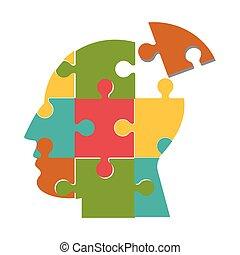 tête, icône, puzzle, humain, morceaux