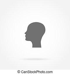 tête, icône, silhouette, homme