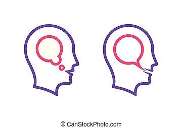 tête, icônes, pensée, parole, humain, bulle