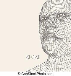 tête, illustration., couverture, 3d, figure, polygonal, ...