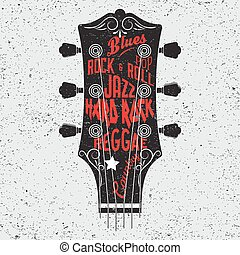 tête, illustration, main, guitare, dessiné, lettering.