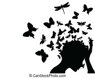 tête, illustration, papillons, vecteur, prendre, girl, fermé.