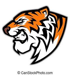 tête, illustration, tigre, vecteur, rugir, mascotte