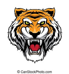 tête, illustration, tigre, vecteur, tiger., rugir, mascotte